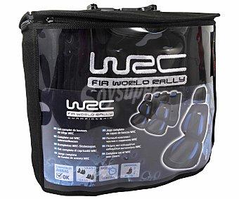 WRC Juego de Fundas Universales, Modelo Blue Race, Color Negro con Detalles en Azul Fabricadas en Poliester 1 Unidad