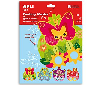 APLI Bolsa de 4 hojas de goma eva con diseños para poder montar máscaras de carnaval 1 unidad