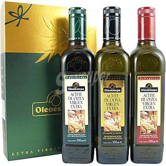 Oleoestepa aceite de oliva virgen extra arbequina y coupage arbequina y cornicabra variedades Selección, Hojiblanca y Arbequina estuche 3 botellas 500 ml