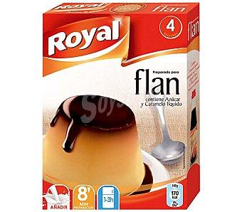 Royal Flan para preparar contiene azúcar y caramelo líquido 4 flanes Estuche 93 g