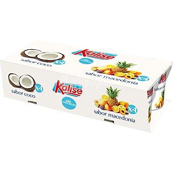 Kalise yogur sabores 4 sabor coco + 4 sabor macedonia pack 8 envase 125 g