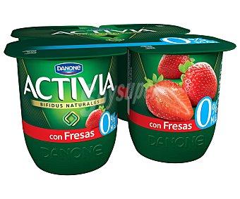 Activia Danone Bífidus desnatado de origen natural (0% materia grasa) y con trocitos de fresas 0% de Danone 4 x 120 g