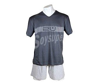 2U Pijama con pantalón corto y camiseta manga corta con cuello pico Pijama hombre