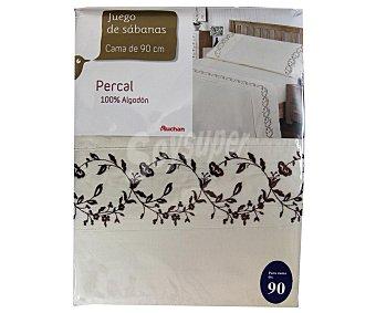 AUCHAN Juego de sábanas de percal color beige con bordado, 90 centímetros 1 Unidad