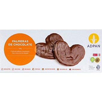 Adpan Palmeras de chocolate sin glutén sin huevo sin leche Envase 100 g