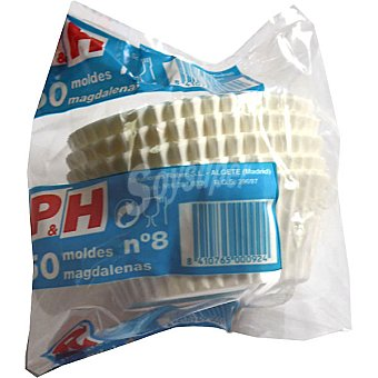 P & H Molde desechable papel magdalena n 8 Paquete 50 unidades