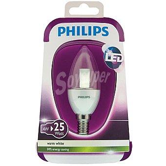 Philips (25 W) lámpara led blanco cálido casquillo E14 (fino) Vela Clara 4 W