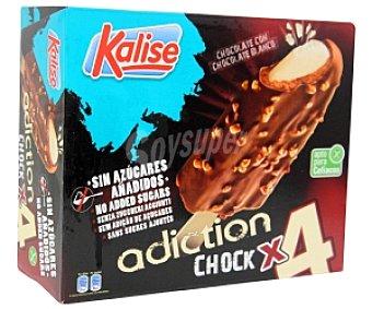 Kalise Bombón Helado de chocolate con onza de chocolate blanco en el interior y crujiente cobertura de chocolate con leche y trocitos de almendra. Apto para celiacos 4x90ml