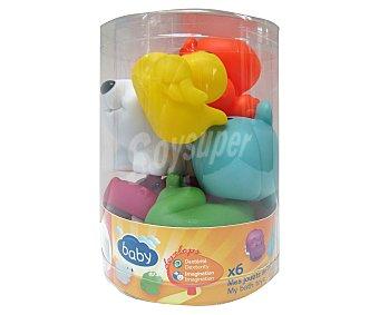 Baby Auchan 6 Animales de goma de colores para baño 1 unidad
