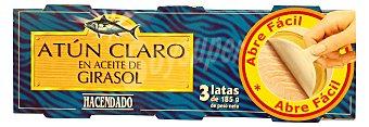 Hacendado Atun claro en aceite girasol omega 3 ( abre fácil solapin) Lata 190 g escurrido 143 g