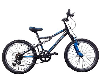 TEAM Bicicleta de montaña de 20 pulgadas con doble suspensión, frenos de disco, 6 velocidades 1 Unidad