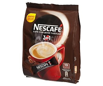 Nescafé Café Soluble con Leche y Azúcar Sabor Suave 10 sobres, estuche 180 g