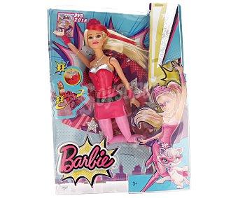 Barbie Muñeca Barbie Súper Princesa 2 en 1 con sonidos, la capa se puede convertir en falda de princesa y la máscara en corona 1 unidad