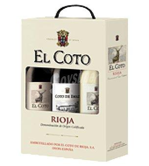 El Coto Estuche con 3 botellas de vino D.O. Rioja Pack de 3x75 cl
