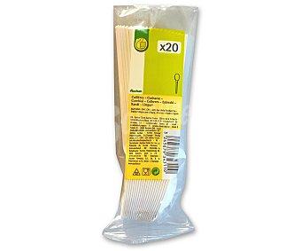 Productos Económicos Alcampo Cucharas desechables fabricadas en plástico blanco 20 unidades