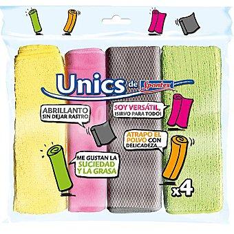 UNICS DE SPONTEX Bayetas multiusos microfibras envase 4 unidades Envase 4 unidades
