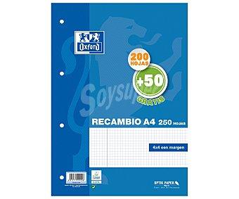 Oxford School Oxford school classic A4 Recambio paquete 4x4 con margen 200 Hojas + 50 Hojas gratis, oxford