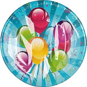 NV CORPORACION Plato decorado globos Paquete 8 unidades