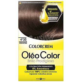 Colorcrem Tinte óleo Color Chocolate Irresistible nº 4.35 coloración permanemte sin amoniaco Caja 1 unidad