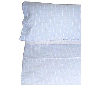 Auchan Juego de sábanas de franela 75% algodón para cama de 105cm., color azul, AUCHAN.