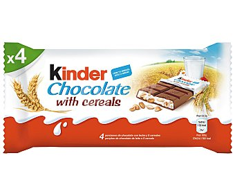 Kinder Cereali 4 barritas de chocolate con leche y 5 cereales Estuche de 94 g