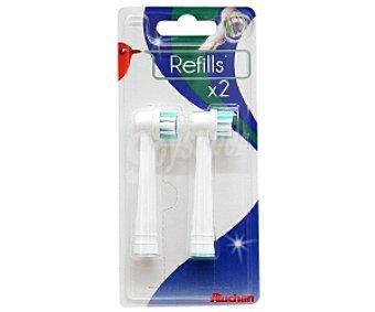 AUCHAN REFILLS Recambio cepillo dental, 2 Unidades, Compatible: Qilive, Braun oralb, 2u