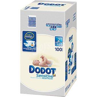 Dodot Sensitive Pañales recién nacido de 3 a 6 kg talla 2 absorción  100 unidades