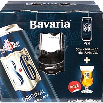 BAVARIA 8.6 cerveza rubia de Holanda + Copa de regalo pack 4 lata 50 cl