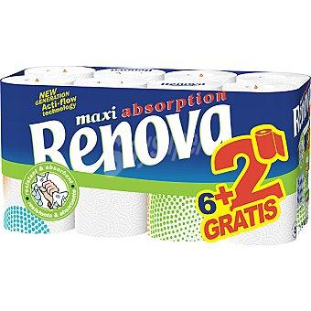 Renova Rollos de cocina maxi absorción paquete 6 rollos + 2 gratis Paquete 6 rollos + 2 gratis