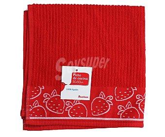 AUCHAN Paño de cocina de rizo, con cenefa, color rojo, 50x50 centímetros 1 Unidad