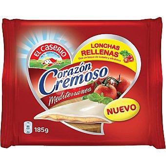 El Caserío Mediterráneo lonchas de queso rellenas de tomate y albahaca Envase 185 g