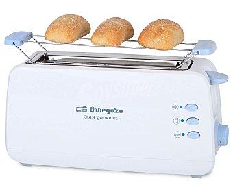 ORBEGOZO TO-4012 Tostador, 1 ranura larga, termostato, desconexión automática, calienta panecillos, bandeja recogemigas carcasa tacto frío, 800w, 1 ranura