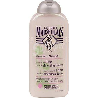 Le Petit Marseillais Champú con extracto de lino y leche de almendras dulces para cabello largo frasco 300 ml hidrata y da brillo al cabello Frasco 300 ml