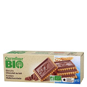 Carrefour Bio Galletas con tableta de chocolate con leche ecológicas 150 G 150 g