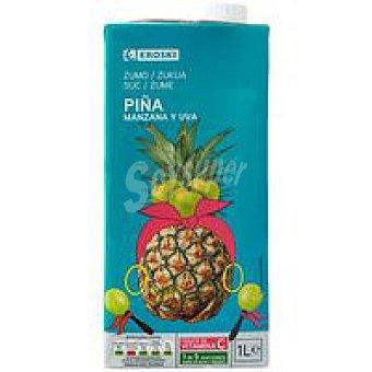 Eroski Zumo de piña-uva con vitamina C Brik 1 litro