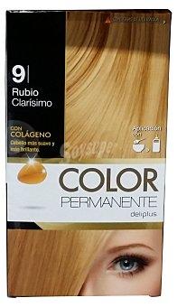 Deliplus Tinte coloracion permanente Nº 09 rubio clarisimo (contiiene colageno para hidratar) u