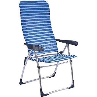 INDUAL Nytexline Sillón plegable con respaldo alto y 5 posiciones en color blanco y azul