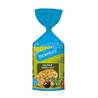 BICENTURY Tortitas de maiz sabor olivas y cebollino  bolsa 1235 g
