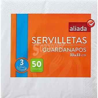 Aliada Servilletas blancas 3 capas 33x33 Paquete 50 unidades
