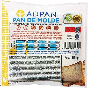 Adpan pan de molde sin gluten sin huevo sin lactosa 2 rebanadas Envase 55 g