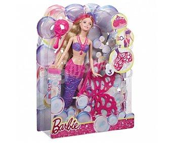 Barbie Muñeca Barbie Sirena burbujas mágicas, incluye tiara, peine y caballito de mar 1 unidad