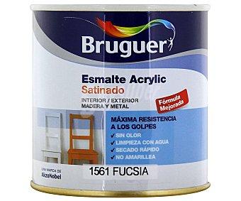 BRUGUER Esmalte Decorativo Acrílico, Color Rosa Fucsia, Acabado Satinado 0,25 Litros