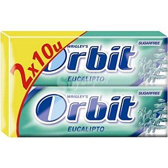 Orbit Chicles de eucalipto sin azúcar envase 50 g Pack 2x10 unidades