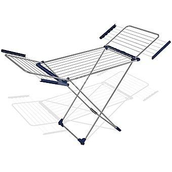 UNIT Tendedero de aluminio con alas 20 m con ruedas y apoyos antideslizantes