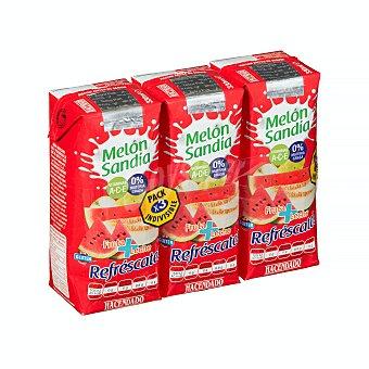 Hacendado Frutas+leche melon sandia (brick rojo) 3 x 330 ml