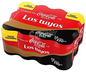 Coca-Cola Zero Refresco de cola zero sin cafeína 12 latas de 33 cl