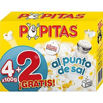 Popitas Borges Palomitas al punto de sal para microondas Pack 4 envases 100 g + 2 gratis Pack 4 envases 100 g