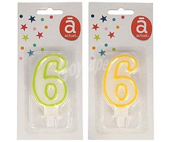 Actuel Vela de cumpleaños número 6 con filo de color, varios colores, actuel