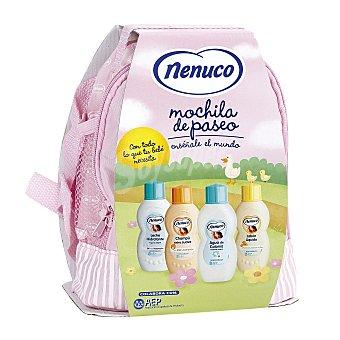 Nenuco Mochila rosa con agua de colonia + jabón líquido + champú + leche hidratante + gel higienizante de regalo u