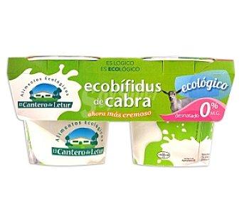 CANTERO DE LETUR Yogur Ecobífidus de cabra desnatado, Ecológico,, 2x125 gramos 2x125g
